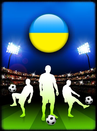 Ukraine Flag Button with Soccer Match in Stadium Original Illustration