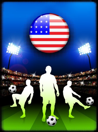 United States Flag Button with Soccer Match in Stadium Original Illustration Stock Photo