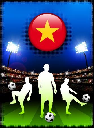 Vietnam Flag Button with Soccer Match in Stadium Original Illustration illustration
