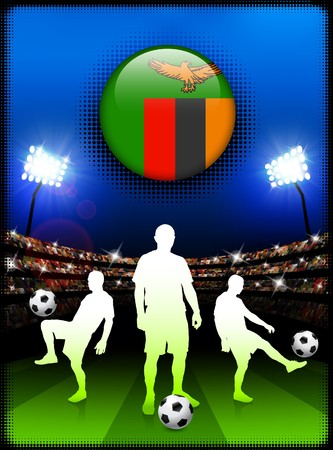 Zambia Flag Button with Soccer Match in Stadium Original Illustration illustration