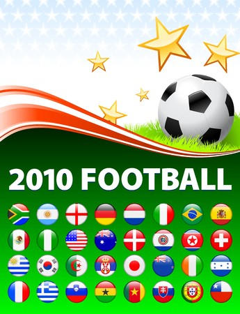 Global 2010 Soccer Event with Buttons Original Illustration illustration