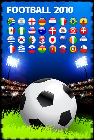 Soccer Ball on Stadium Background with Buttons Original Illustration