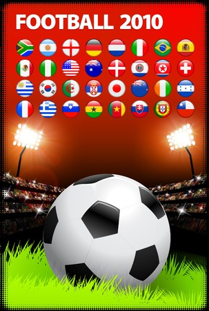Soccer Ball on Stadium Background with Buttons Original Illustration illustration