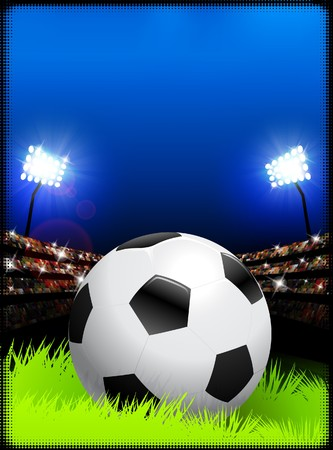 Soccer Ball on Stadium Background Original Illustration