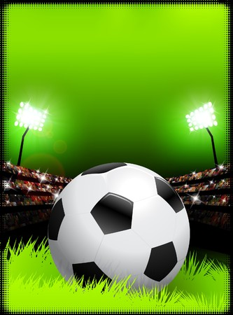 スタジアムの背景にサッカー ボール オリジナル イラスト 写真素材