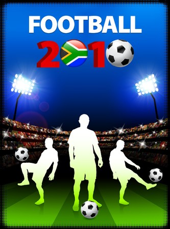 Soccer Team with South African 2010 Event Original Illustration Stock Photo