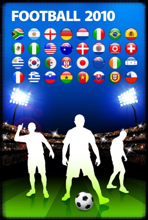 Global 2010 Soccer Match with Stadium Background Original Illustration illustration