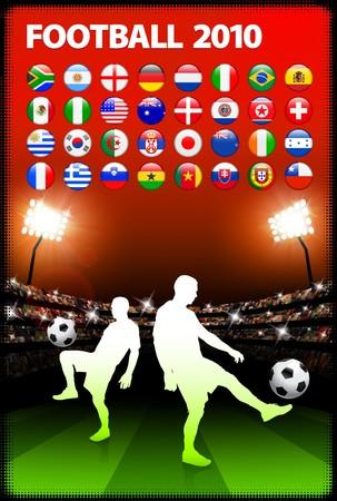 Global 2010 Soccer Match with Stadium Background Original Illustration illustration