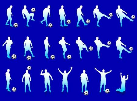 Blue Soccer Player Silhouette Collection Original Illustration illustration