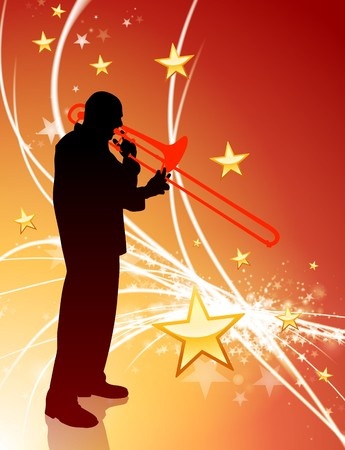 trombone Musician on Abstract Light Background with Stars Original Illustration