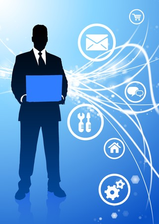 Businessman with Internet Icons