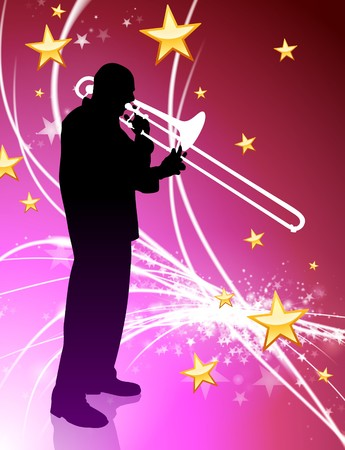 trombone Musician on Abstract Light Background with Stars Original Illustration illustration