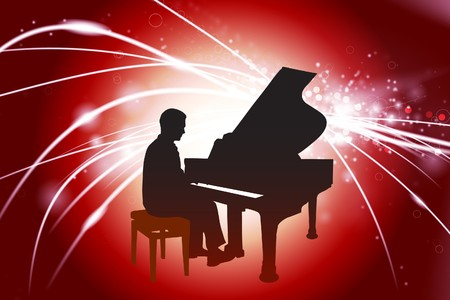 Piano Musician on Abstractt Light Background Original Illustration illustration