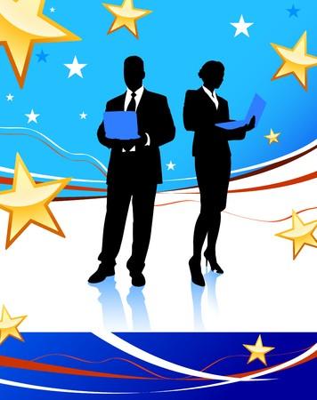 Business Couple on Abstract United States Background Original Illustration illustration