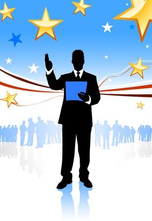 Businessman on Abstract United States BackgroundOriginal Illustration Stock Illustration - 7098611