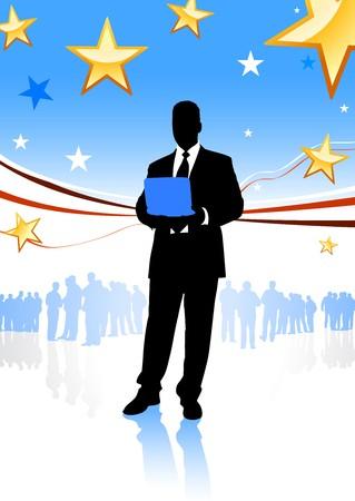 Businessman on Abstract United States BackgroundOriginal Illustration Stock Illustration - 7098602
