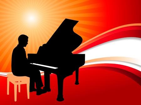 llave de sol: M�sico piano en abstracto de verano de fondo Ilustraci�n original
