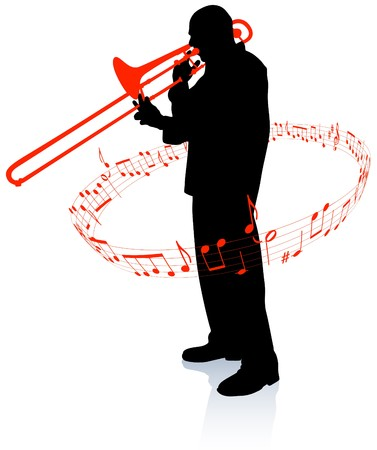 trombón: M�sico de trompeta con notas musicales Ilustraci�n original