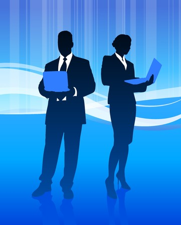 Business Couple on Abstract Wave Background Original Illustration illustration