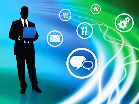 Businessman on Liquid Background with Internet IconsOriginal Illustration Stock Illustration - 7098481