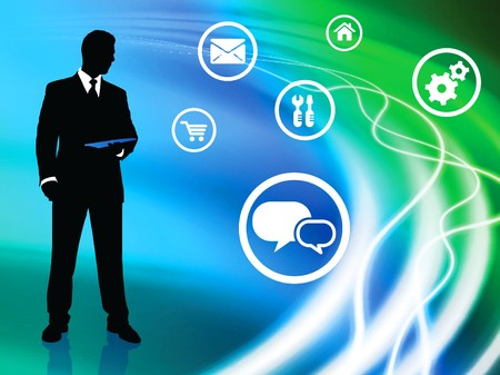 Businessman on Liquid Background with Internet Icons Original Illustration illustration
