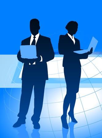 Business Couple on Global Economy Background Original Illustration illustration