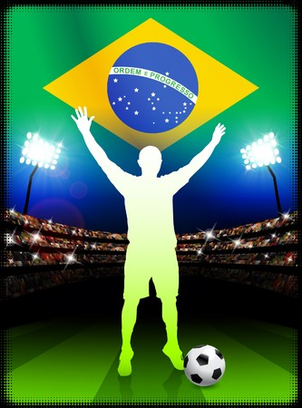 Brazil Soccer Player in Stadium Match Original Illustration illustration