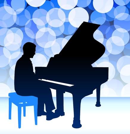 青のレンズ フレアの背景にピアノの音楽家オリジナル イラスト