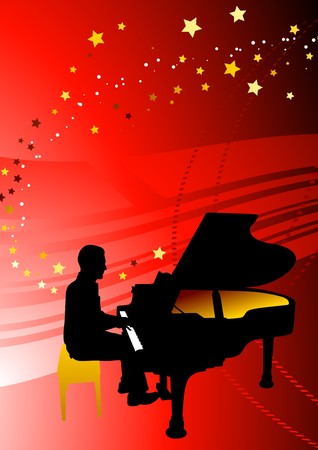 Piano Musician on Abstract Red Background Original Illustration illustration