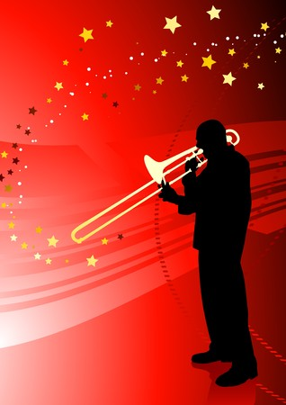 Trumpet Musician on Abstract Red Background Original Illustration illustration