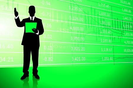 Businessman on Stock Market Background Original Illustration illustration
