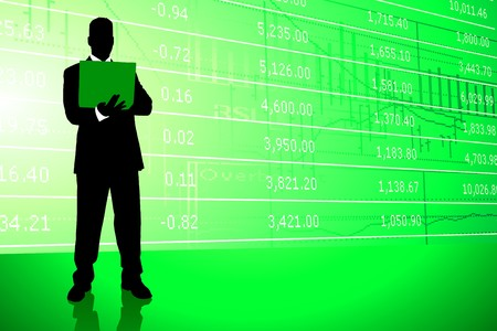 Businessman on Stock Market Background Original Illustration illustration