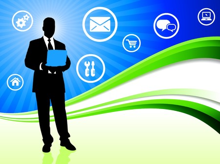 Businessman on Abstract Wave Background with Internet Icons Original Illustration illustration