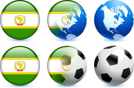 African Union Flag Button with Global Soccer Event Original Illustration