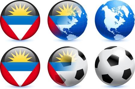 antigua: Antigua Flag Button with Global Soccer Event Original Illustration