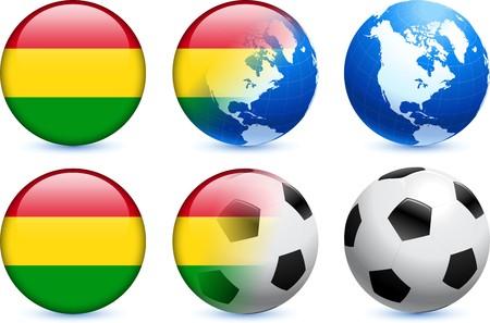 bandera de bolivia: Bot�n de bandera de Bolivia con el Mundial de f�tbol de eventos Ilustraci�n original