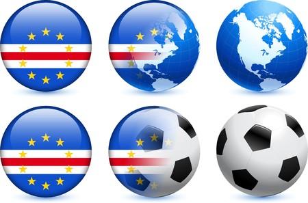 Cape Verde Flag Button with Global Soccer Event Original Illustration Reklamní fotografie