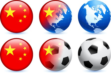 competitions: China Flag Button with Global Soccer Event Original Illustration