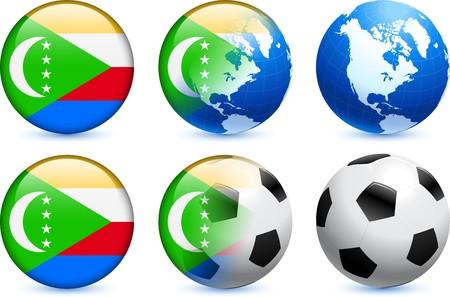 Comoros Flag Button with Global Soccer Event Original Illustration