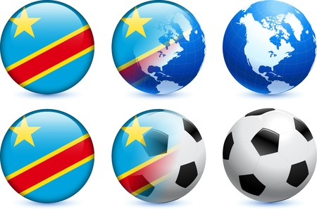Congo Flag Button with Global Soccer Event Original Illustration illustration