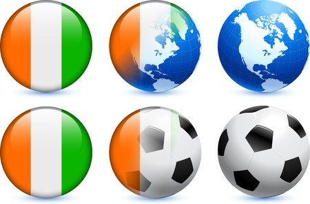 french flag: Ivory Coast Flag Button with Global Soccer Event Original Illustration Stock Photo