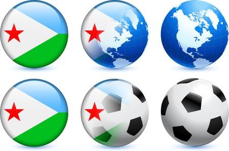 Djibouti Flag Button with Global Soccer Event Original Illustration illustration