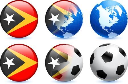 East Timor Flag Button with Global Soccer Event Original Illustration illustration