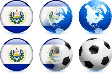 bandera de el salvador: Bot�n de bandera del Salvador con el Mundial de f�tbol de eventos Ilustraci�n original  Foto de archivo
