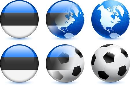 世界的なサッカーのイベントでエストニア フラグ] ボタン オリジナル イラスト 写真素材