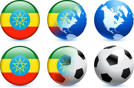 Ethiopia Flag Button with Global Soccer Event Original Illustration