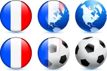 France Flag Button with Global Soccer Event Original Illustration illustration