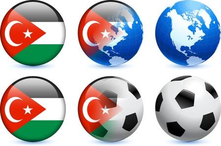gaza: Gaza Flag Button with Global Soccer Event Original Illustration