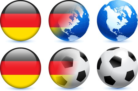 Germany Flag Button with Global Soccer Event Original Illustration illustration