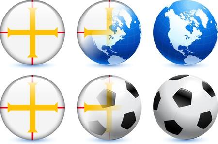Guernsey Flag Button with Global Soccer Event Original Illustration